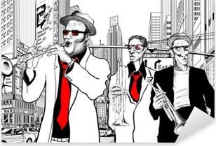 Jazzbändi New Yorkin kadulla Pixerstick Tarra