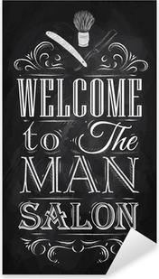 Juliste kylpytuotteita tervetulleita miesten salonki retro-tyyliin ja Pixerstick Tarra