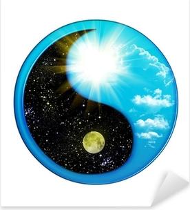 Kaksi yin ja yang käsitteitä kuvaavat kaksi ensisijaista vastakkaista. .. Pixerstick tarra
