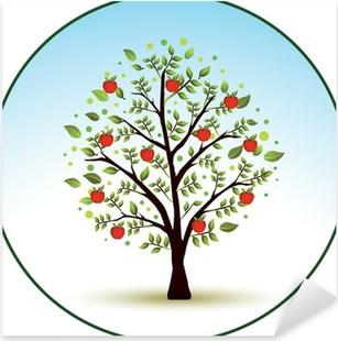 Kaunis vektori omenapuu Pixerstick tarra