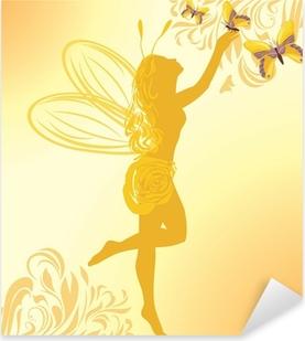Keiju ja perhosia keltaisella pohjalla Pixerstick tarra