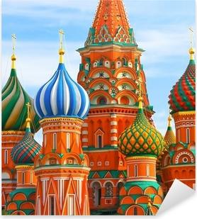 Kuuluisin paikka moskovassa, pyhimyksen basilikan katedraali, venäjä Pixerstick tarra