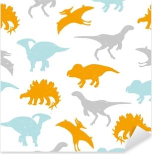Lapsellinen saumaton malli pastelli dinosaurukset siluetteja. vektori käsin piirretty kuva. Pixerstick tarra