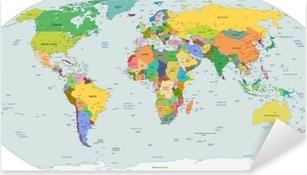Maailmanlaajuinen poliittinen kartta maailmasta, vektori Pixerstick Tarra