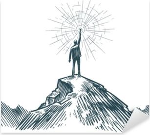 Mies seisoo vuoren huipulla kädessä. liiketoimintaa, tavoitteen saavuttamista, menestystä, löytämiskonseptia. luonnos vektori kuva Pixerstick tarra