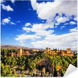 Muinainen arabialainen linnoitus alhambra, granada, espanja. Pixerstick tarra