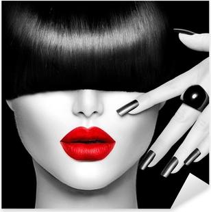 Muodin malli tyttö trendikäs kampaus, meikki ja manikyyri Pixerstick Tarra