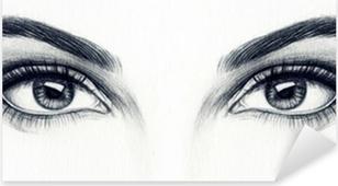 Naisen silmät Pixerstick tarra