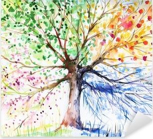 Neljän kauden puu Pixerstick Tarra
