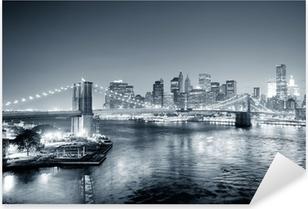 New york city manhattan keskusta mustavalkoinen Pixerstick tarra