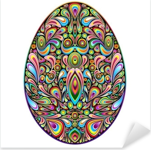 Pääsiäismuna psykedeelinen art design uovo di pasqua ornamentale Pixerstick tarra
