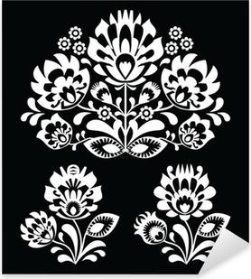 Polish floral folk white pattern on musta - wzory lowicki Pixerstick tarra