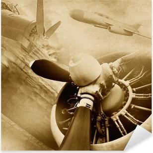 Retro ilmailu, vintage tausta Pixerstick Tarra