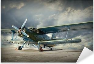 Retro tyyli kuva biplane. Kuljetusteema. Pixerstick Tarra