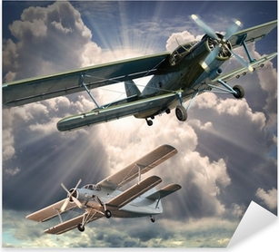 Retrotyylinen kuva biplaneista. kuljetus teema. Pixerstick Tarra