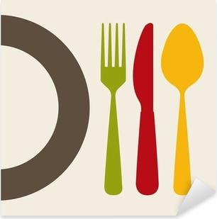 Ruokailuvälineiden suunnittelu Pixerstick tarra