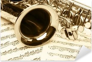 Saksofonin yksityiskohta Pixerstick tarra