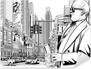Saksofonisti New Yorkin kadulla Pixerstick Tarra