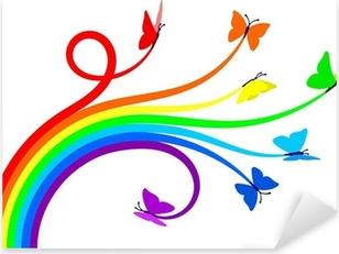 Sateenkaari perhosia Pixerstick Tarra