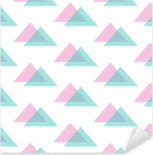 Söpö moderni vaaleanpunainen ja mintunvihreä kolmio saumaton kuvio tausta. Pixerstick tarra