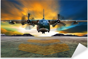 Sotilaslentokone laskeutuu ilmavoimien kiitoratoihin kauniilta Dusilta Pixerstick Tarra