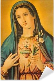 Sydän neitsyen mary kanssa lilja Pixerstick tarra