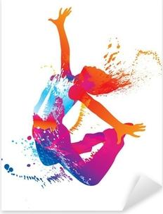 Tanssi tyttö värikkäitä pilkkuja ja roiskeita valkoisella Pixerstick Tarra