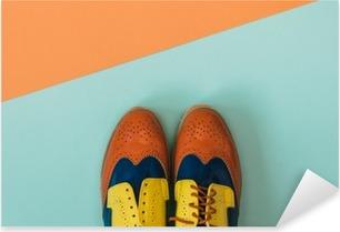 Tasainen lay fashion set: värillinen vintage kengät värillinen tausta. ylhäältä. Pixerstick tarra