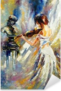 Tyttö soittaa viulua Pixerstick Tarra