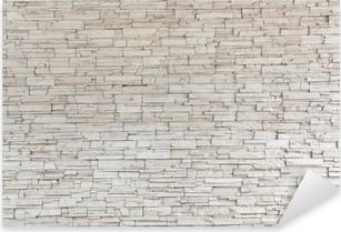 Valkoinen kivi laatta rakenne tiiliseinä Pixerstick Tarra