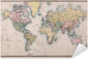 Vanha antiikkinen maailman kartta merkkiprojektioissa Pixerstick Tarra