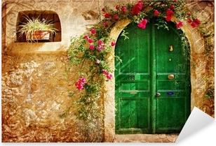 Vanhat kreikkalaiset ovet - retro-tyylinen kuva Pixerstick tarra