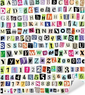 Vektori lunnaile note-cut paperi kirjaimet, numerot, symbolit Pixerstick tarra