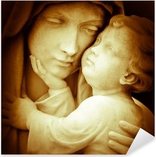 Vintage kuva virgin mary kuljettaa vauva jesus Pixerstick tarra