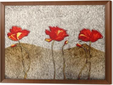 Tavla i Ram Abstrakt blomma oljemålning
