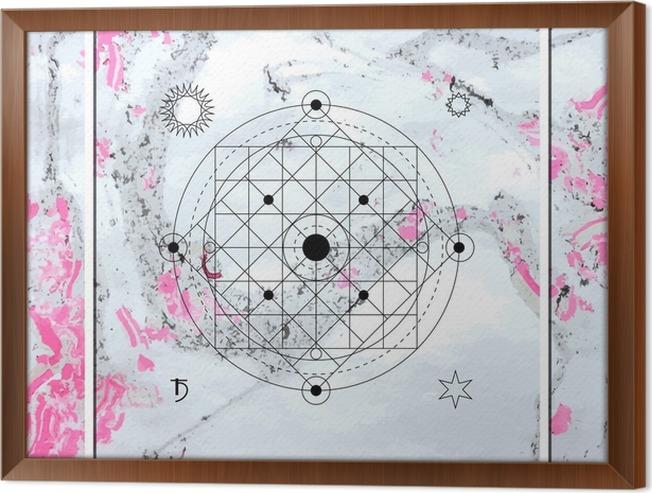Tavla i Ram Abstrakt mystisk geometri, linjär alkemi, ockult, filosofiska tecken. - Grafiska resurser