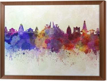 Tavla i Ram Bali skyline i vattenfärg bakgrund