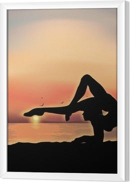 Tavla i Ram Gymnast utövar nära havet