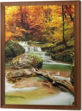 Tavla i Ram Hösten bäck skogen med gula träd