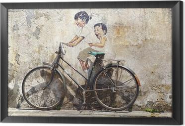 """Tavla i Ram """"Little Children på en cykel"""" Mural."""