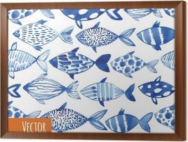 Tavla i Ram Ljus vattenfärg blå fiskar på svart bakgrund.