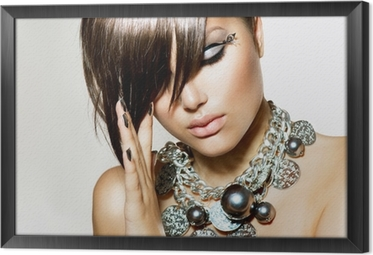 Tavla i Ram Mode Glamour Beauty Girl med elegant frisyr och smink