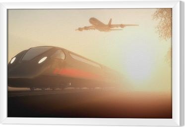 Tavla i Ram Tåget och flygplan