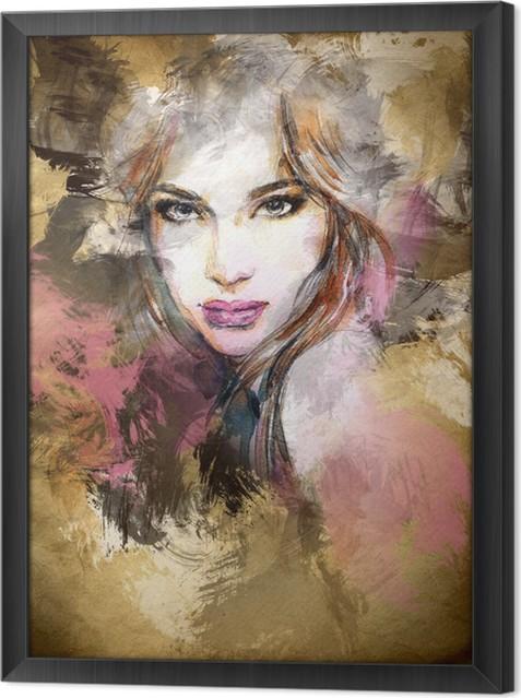 Tavla i Ram Vacker kvinna inför. akvarell illustration -