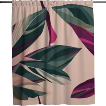 Tenda da doccia Foglie di cordelia su uno sfondo rosa. motivo floreale senza soluzione di continuità.