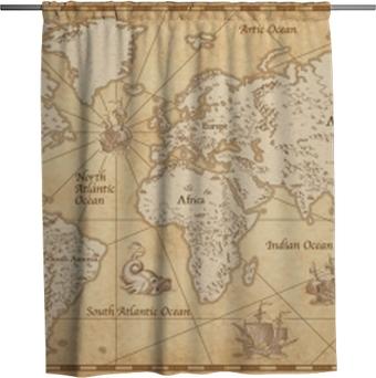 Tenda da doccia Mappa del mondo illustrato d'epoca