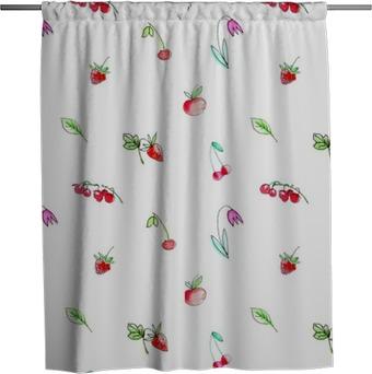 Tenda da doccia Reticolo senza giunte con la frutta del giardino e berries.Cherry, lamponi, ribes, fragole, mele e fiori. disegnato mano Acquerello illustration.White sfondo.