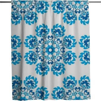 Tenda da doccia Senza soluzione di continuità floreale blu polacco modello arte popolare - wycinanki