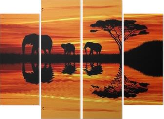 Tetraptych Elephant silueta při západu slunce