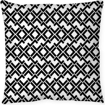 Black and white seamless zig zag line pattern Throw Pillow